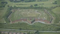 Aerial view of Fort Purbrook looking north