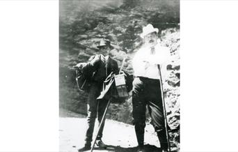 Photograph of Arthur Conan Doyle crossing the Gemmi Pass with a Swiss guide
