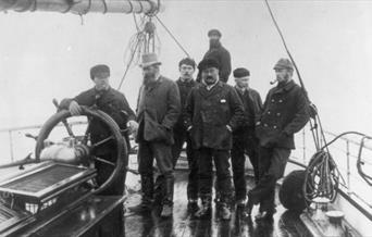 Photograph of Arthur Conan Doyle on the whaling ship Hope