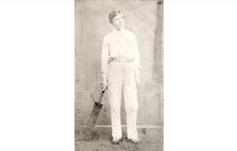 Photograph of Arthur Conan Doyle in cricket whites