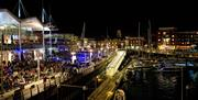Image of Gunwharf Quays marina at night