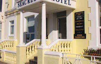 The seacrest hotel overlooks the Venetian Gardens and the Solent