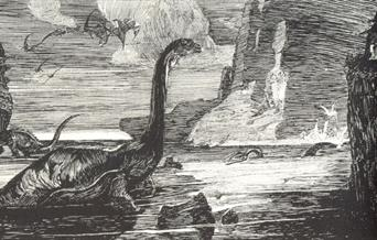Illustration of a dinosaurs at the lake from the Lost World