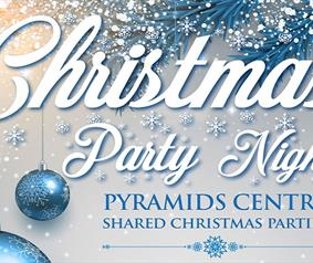 Poster showing Christmas party nights at the Pyramids Centre