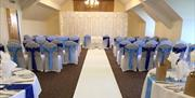 Room set up for weddings at Cams Hall Estate Golf Club